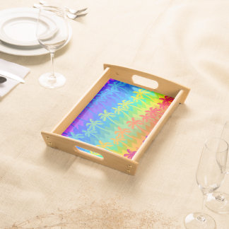 Rainbow palm trees serving tray