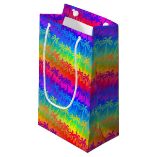 Rainbow palm trees small gift bag