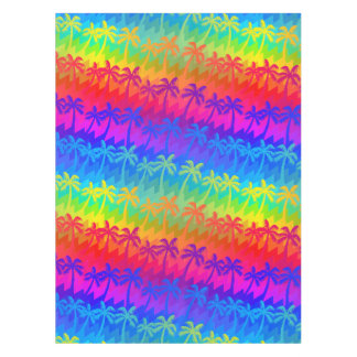 Rainbow palm trees tablecloth