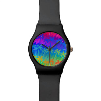 Rainbow palm trees watch