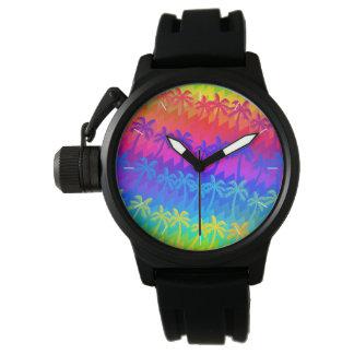 Rainbow palm trees wristwatch