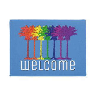 Rainbow Palms Your Text Background Doormat