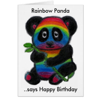 RAINBOW PANDA BIRTHDAY CARD DAUGHTER SON ETC.