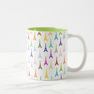 Rainbow Paris Eiffel Tower pattern Two-Tone Coffee Mug