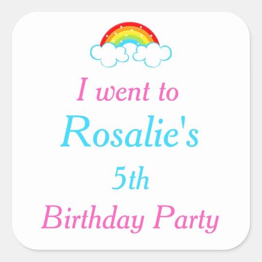Rainbow Party Birthday 'I went to' Square Sticker