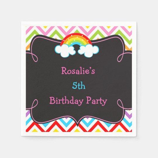 Rainbow Party Birthday Napkin