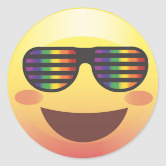 Rainbow Party Shades Smiley Emoji Face Sticker