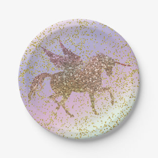 Rainbow Pastel Gold Glitter Unicorn Birthday Party Paper Plate