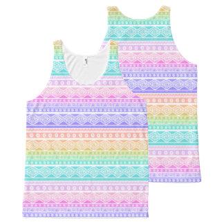 Rainbow Pastels Aztec Pattern Tank Top