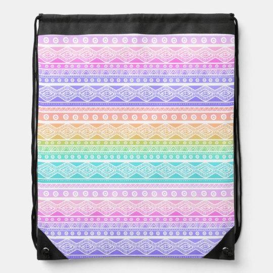 Rainbow Pastels Girly Aztec Drawstring Backpack