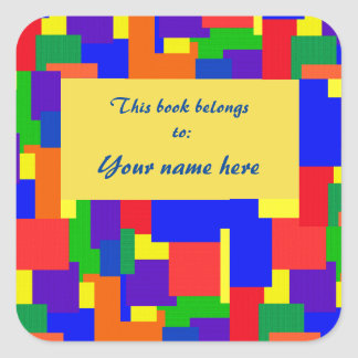 Rainbow Patchwork Quilt Abstract Design Bookplate Square Sticker