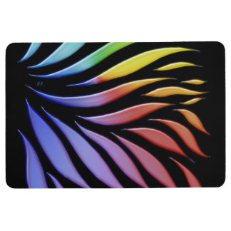 Rainbow Pattern Candy Black Floor Mat
