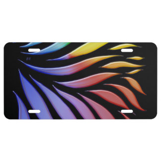 Rainbow Pattern Candy Black License Plate