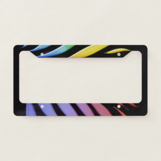 Rainbow Pattern Candy Black License Plate Frame