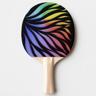 Rainbow Pattern Candy Black Ping Pong Paddle