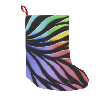Rainbow Pattern Candy Black Small Christmas Stocking