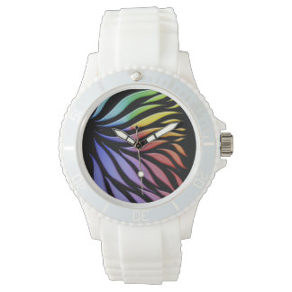 Rainbow Pattern Candy Black Watch