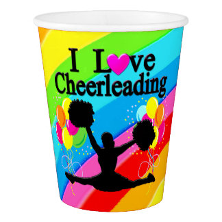 RAINBOW PATTERN I LOVE CHEERLEADER PAPER CUPS PAPER CUP