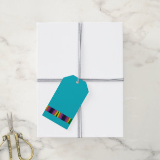 Rainbow pattern on a teal background - pack of gift tags