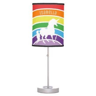 Rainbow Pattern White Unicorn Personalized Kids Table Lamp