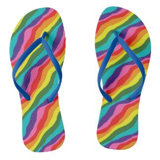 Rainbow Patterns Flip Flops