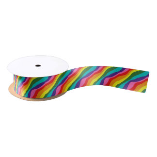 Rainbow Patterns Satin Ribbon