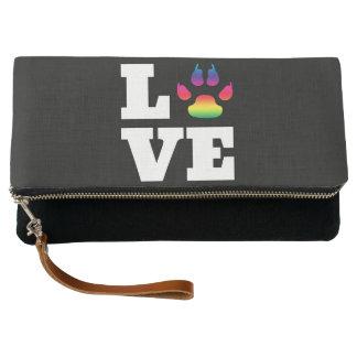 Rainbow paw clutch