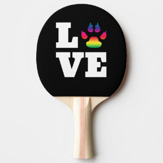 Rainbow paw ping pong paddle
