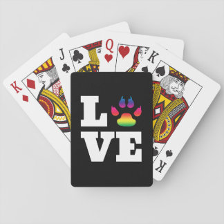 Rainbow paw playing cards