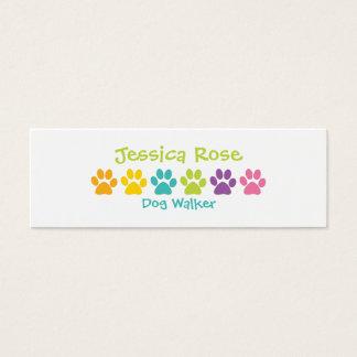 Rainbow Paw Print Dog Walker Mini Business Card