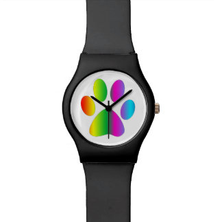 Rainbow Paw Print Wrist Watch