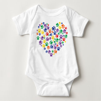 Rainbow Paw Prints Baby Bodysuit