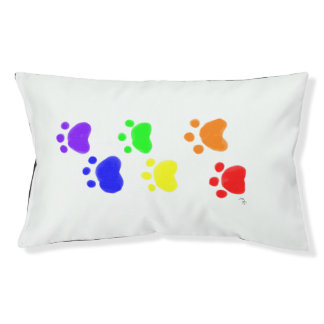 Rainbow Paw Prints Outdoor Pet Bed