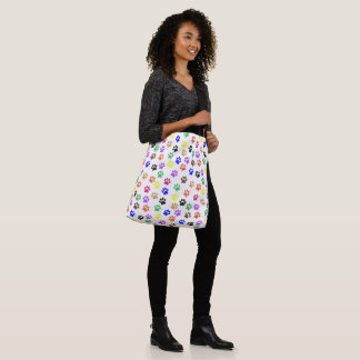 Rainbow Paw Prints PatternTote Bag