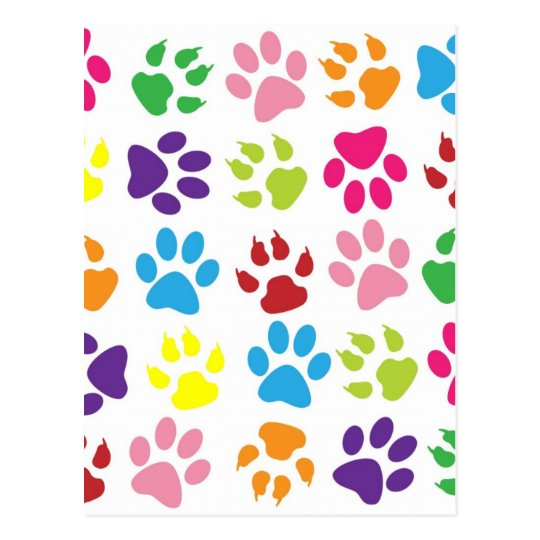 RAINBOW PAW PRINTS POSTCARD