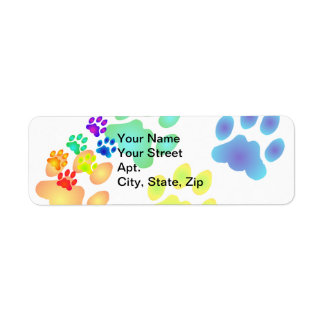 Rainbow Paw Prints Return Address Label