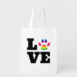 Rainbow paw reusable grocery bag