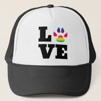 Rainbow paw trucker hat