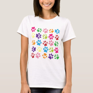 Rainbow Paws Pattern T-Shirt