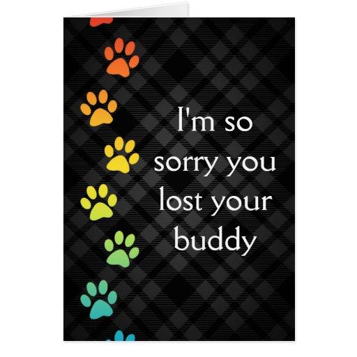 rainbow paws pet loss sympathy card