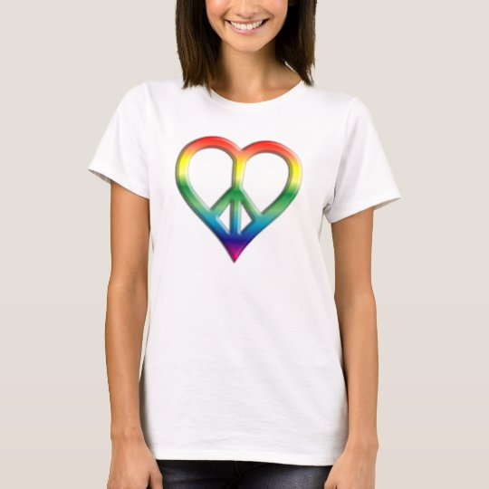 Rainbow Peace and Love Ladies Baby Doll (Fitted) T-Shirt