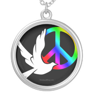 Rainbow Peace Dove Necklace