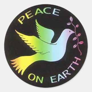 Rainbow Peace Dove Peace Sign Round Sticker