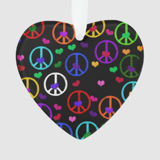 Rainbow Peace Hearts Ornament