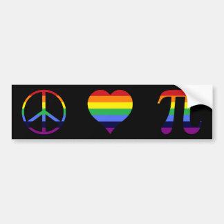 rainbow peace love pi bumper sticker