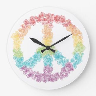 Rainbow Peace Sign Clock