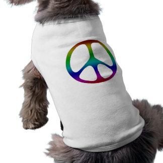 Rainbow Peace Sign Dog Tee Shirt