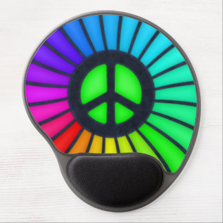 Rainbow Peace Sign Gel Mouse Pad
