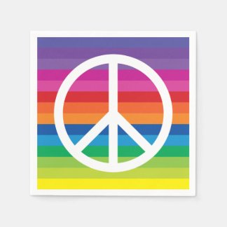 Rainbow Peace Sign Paper Napkins