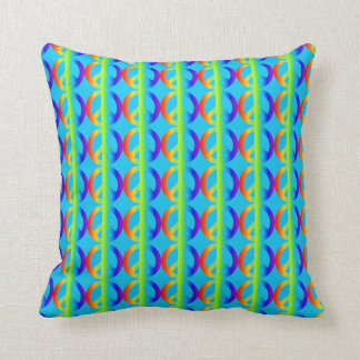 Rainbow Peace Sign Pattern on Aqua Throw Pillow